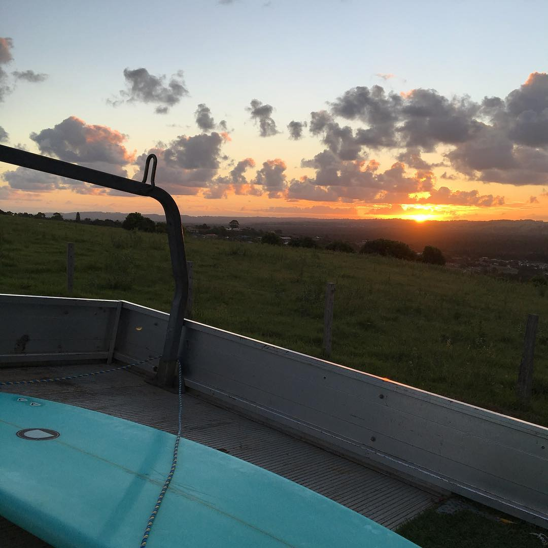 Missing my Aussie fams!! Best surfboards Eva @darcysurfboards and an amazing sunset getting lost to @stokedsurfschool can't wait to go back! #photo @stereosurf