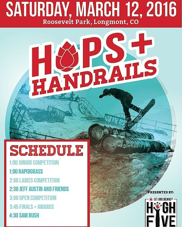 @sosoutreach  is lucky enough to be one of the beneficiaries of @lefthandbrewing #Hops and #Handrails event tomorrow! Come by and support youth development,‪ #‎snowboarding,‬ ‪#‎craftbeer‬ and ‪#‎fun‬. This event is always a blast, so don't miss out!