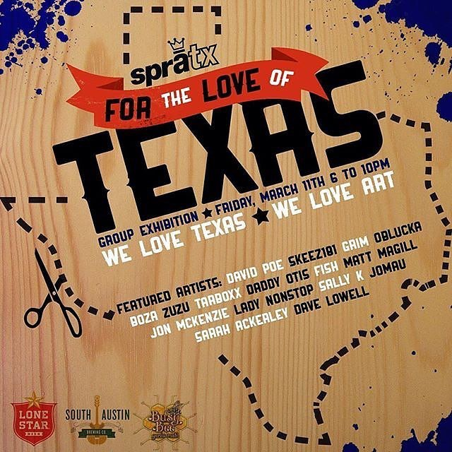 "Come out to 2400 east Cesar Chavez unit 316b for the ""For The Love Of Texas"" viewing. • • 16 customized wooden Texas cutouts by artists from the SprATX family. • • Sponsored by: @southaustinbrewery @busybeemate @atx_lonestar • • #atx #austintx #texas..."