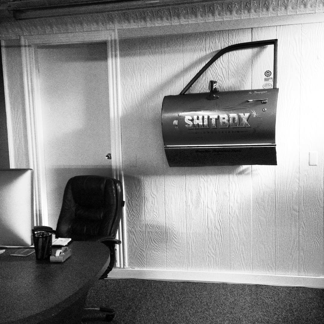 Finally getting some art on the walls at the new office. #cardoor #office #beverlyma #shitboxindustries #chrysler #steezmagazine