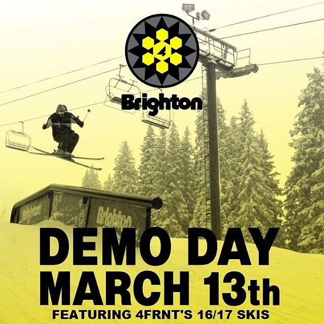 Come demo our skis for 2017 tomorrow March 13th at @brightonresort. Open to the public with any lift pass at Brighton. Just look for the grey 4FRNT tent in the base area. Photo: @bregantephoto