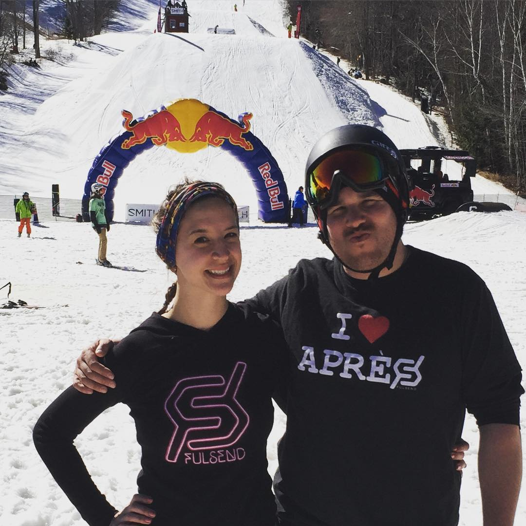 Team rider @zayjmad191 and his fine ski babe @hollymkey reppin at the Carinthia Freeski Open #justsendit #skiing #snowboarding #WhoaBrah #skiing802 #skitheeast #apres #carinthia #freeski #redbull @carinthiaparks @mountsnow @redbull