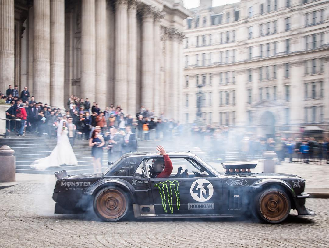 When it's your special day, but Hoonigan still just ain't care... @kblock43 filming today with @mleblanc and @topgear in London. #TFTI #weddingday