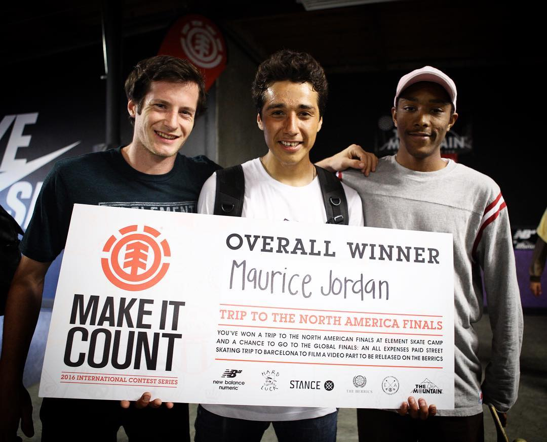 Congratulations to Maurice Jordan (@yungmojordan) on winning today's #ElementMakeItCount  at @nyjah's park! Mo will be skating in the National finals to compete for an all expenses paid skate trip to Barcelona! Thanks to everyone who came out and...