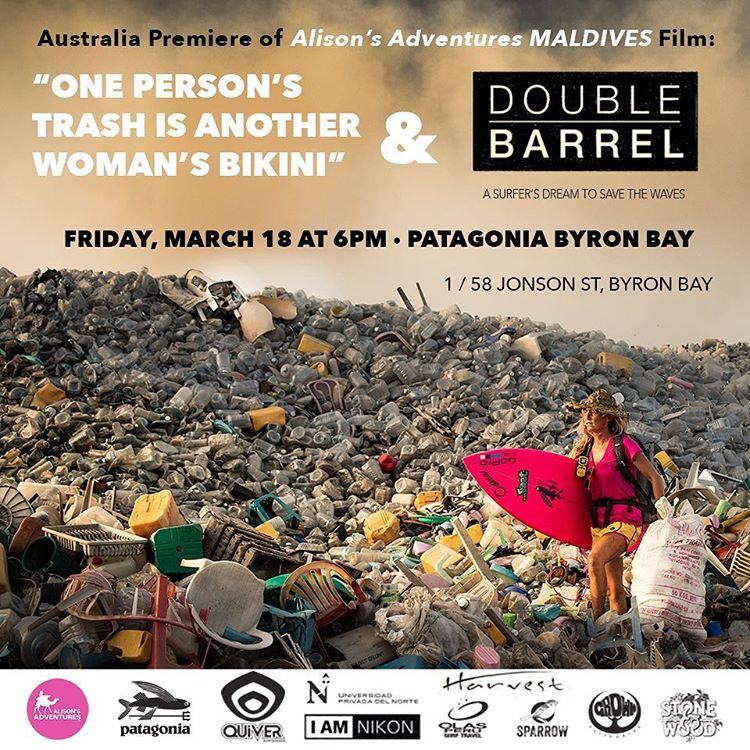 Wildly excited to have the Australia premiere of my #AlisonsAdventures Maldives film alongside @doublebarrelfilm at @patagoniabyronbay store this Friday March 18th at 6pm!  FREE ENTRY, BUT SEATING IS LIMITED SO RSVP by email to @angelahelendavis...