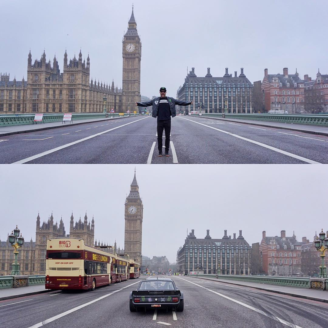 Before and after on London Bridge this morning. See those marks? And those buses? Yeah, that happened. #TopGearLondonTakeOver #BigBen #tyreslayer
