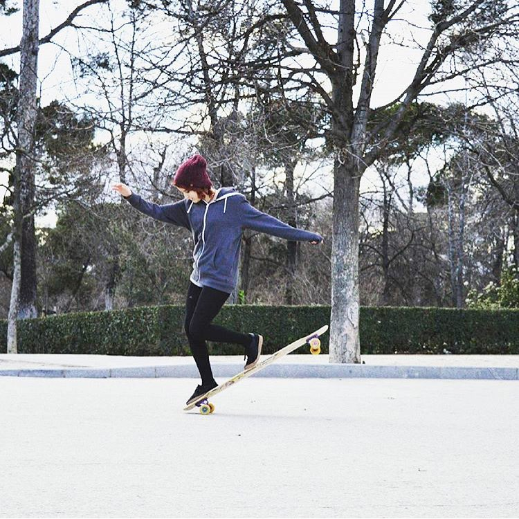 Spanish rider @cerecitapocha dancing in Madrid. She's got style. @nature_media @sanestyle photo.  #longboardgirlscrew #womensupportingwomen #skatelikeagirl #lgc #madrid #candelatoledo