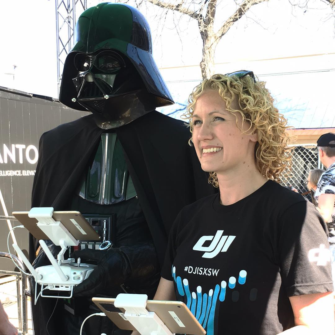 Darth Vader learning how to fly the #Phantom4  #djisxsw #sxsw2016