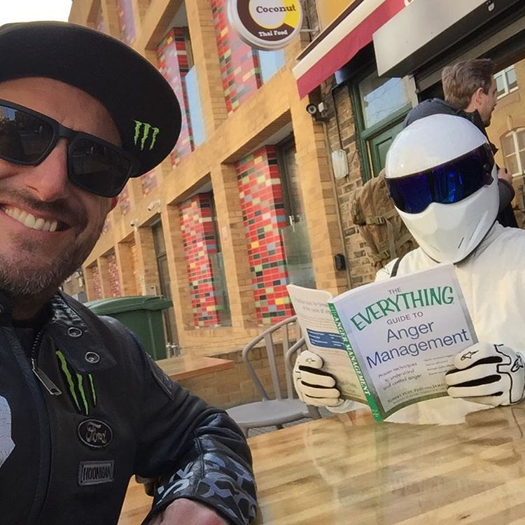 Street snap Sunday. Ran into this dude on the streets of London, doing some light reading. Ha. #TopGearLondonTakeover #TheStig