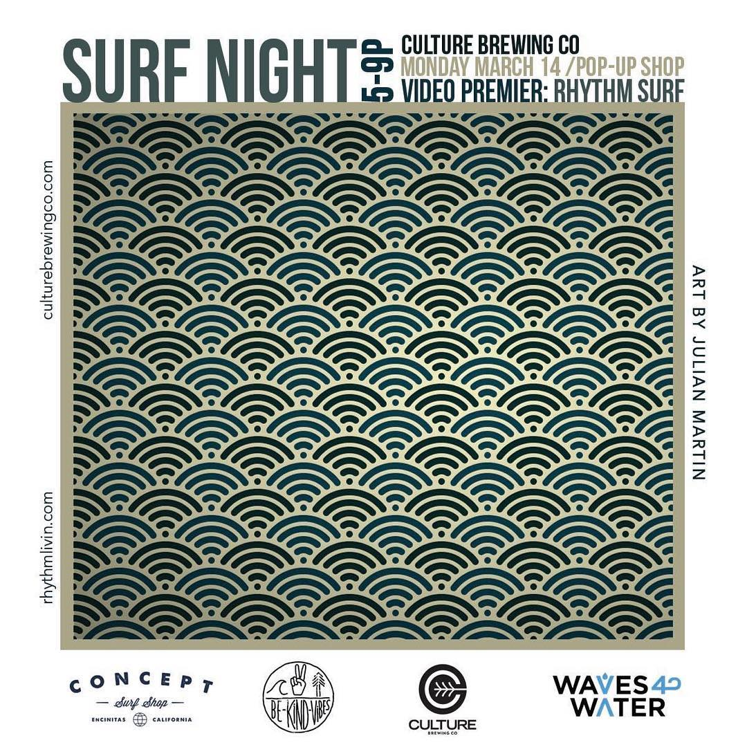 ~ Tribe Gathering ~  We'll be setting up shop at @culturebrewingco in Solana Beach tomorrow night! Featured artist @juliangoulian will be premiering the new @rhythm surf flick at 7pm. @concept_surfshop will also be setting up, and 20% of the nights bar...