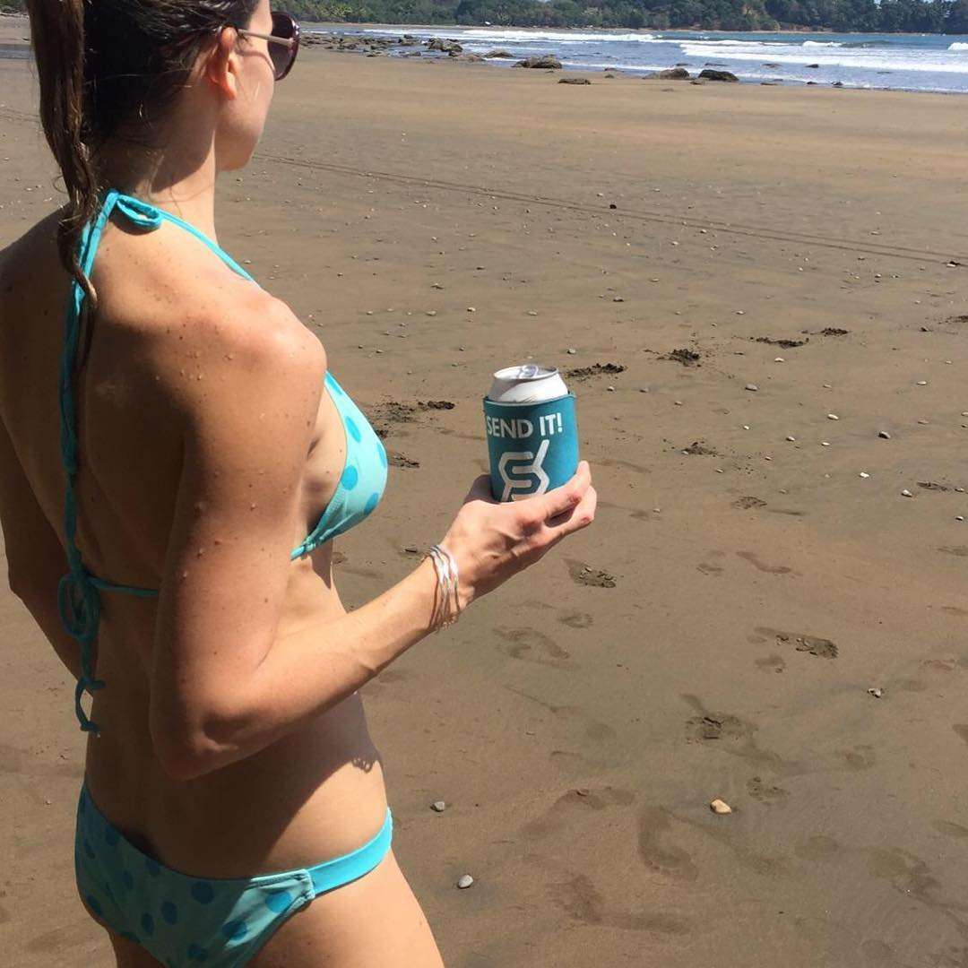 #justsendit from Costa Rica #surf #beach #beerstagram #coozie @ryehoff #vacation #surfing #beachlife #WhoaBrah