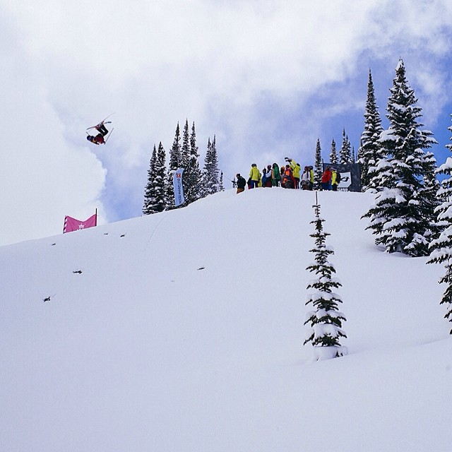 """#TBT to the """"battle"""" between #Superheroes and #Pirates @retallacklodge for the @orage89 #OrageMastersIX.  @tatummonod, """"The Pirate Queen,"""" threw a big layout backy off Hollywood Ridge.  Superheroes walk the plank.  PC: #CharlesSpina @freeskiermagazine..."""