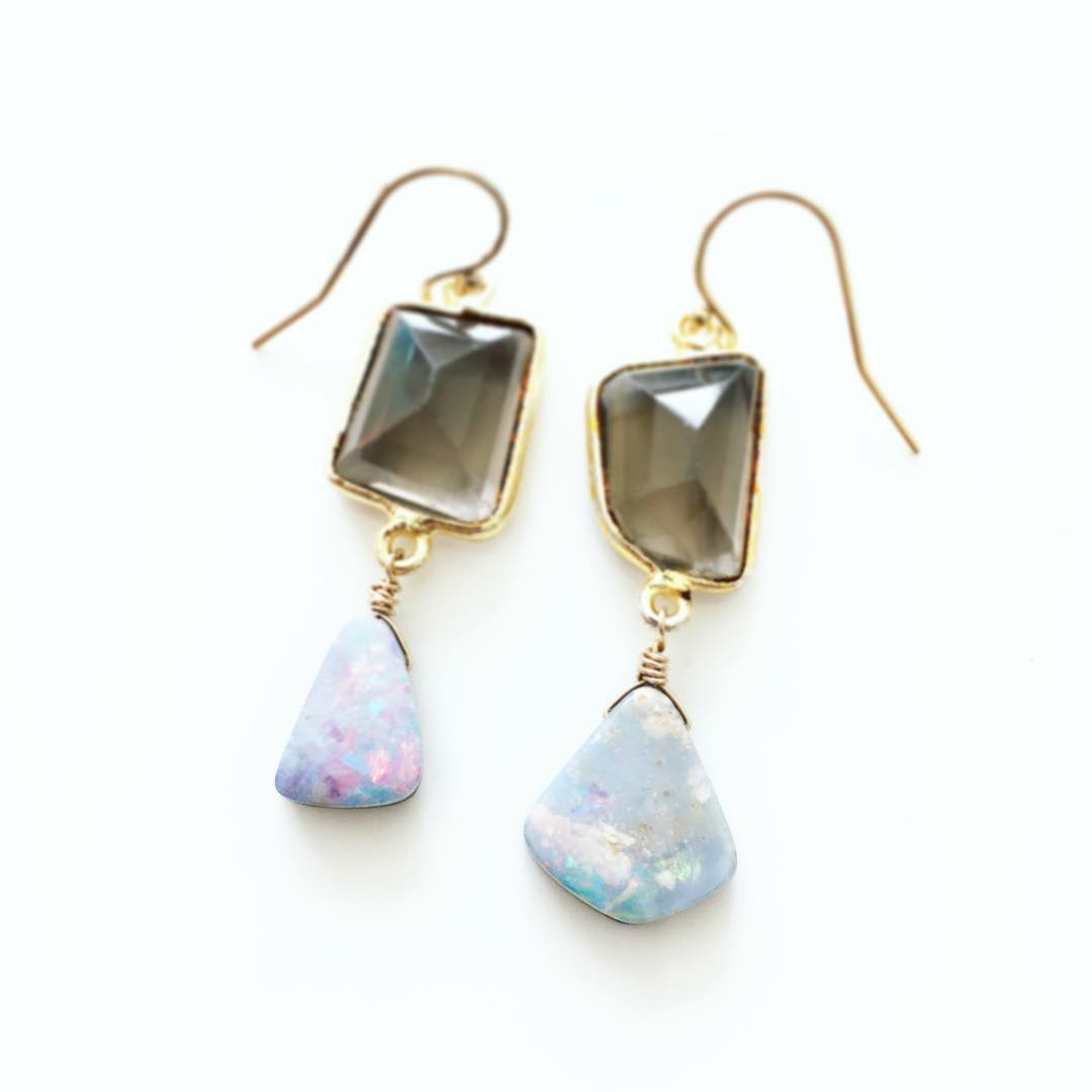 Boulder Opal and Smokey Quartz Earrings.  One-#ofakind editions with the best variations for your type of glow.  #juliaszendrei #opal #quartz #somethingblue #flowerchild #crystalgypsy #crystals #drippingcrystals