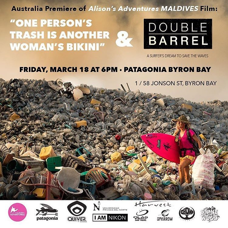 Go check out @alisonsadventures film on plastics in the Maldives! Our beautiful treasures are being overrun by pollution! Friday March 18th in Byron Bay at the Patagonia Store! Photo by @hisarahlee