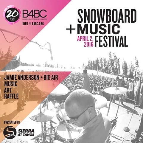 The Snowboard + Music Festival is coming back to @sierra_at_tahoe April 2, 2016 to celebrate B4BC's 20th anniversary! Join us for music, @jamieanderson's Big Air Expression Session, art, raffles and so much more. Megan Pischke (@megsporcheron) will be...