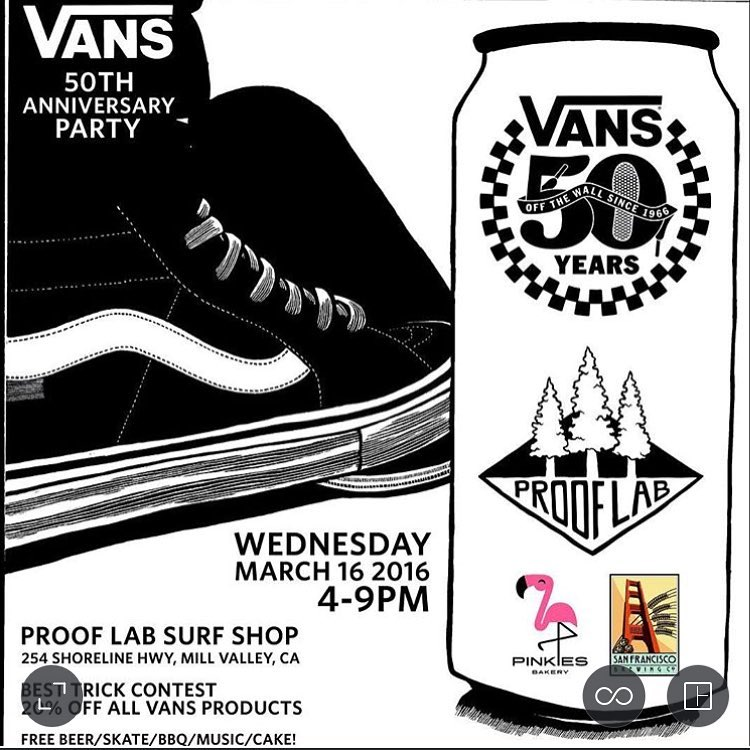 Our friends @prooflab are throwing a 50th anniversary party for @vansskate this Wednesday. Free beer and shredding! Be there!