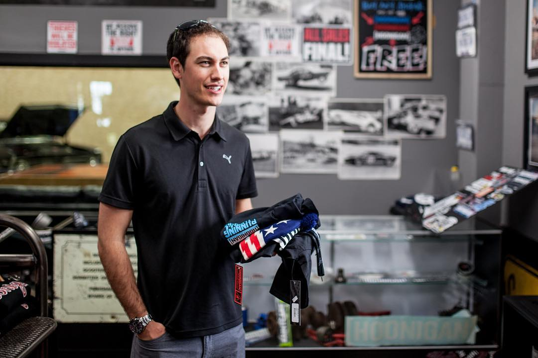 Nascar driver @joeylogano was in town and popped into the #donutgarage Bakery. Double tap if you want to see some burnouts!
