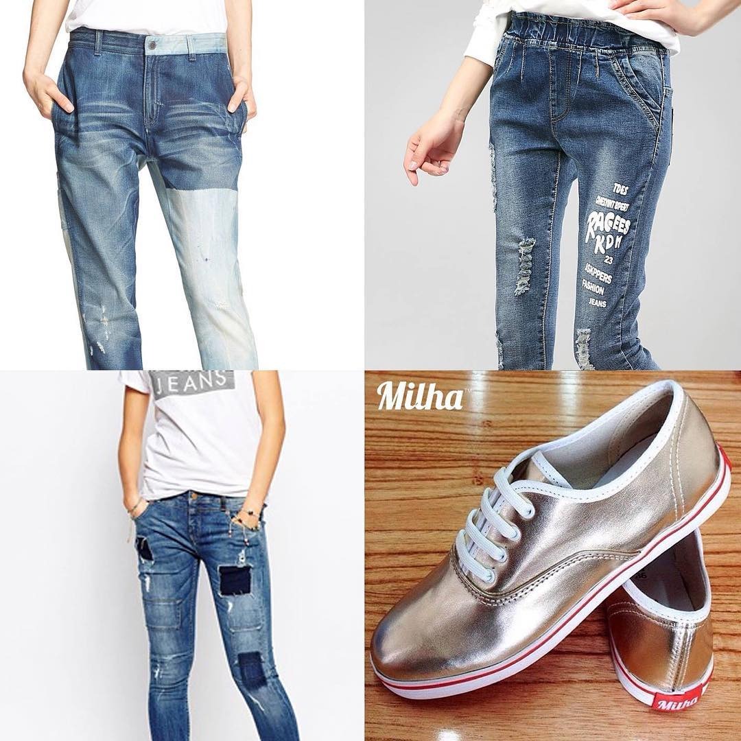 Look Casual: tendencia Pachwork y Boyfriend Jeans for Women con Milha Gold! Made to Enjoy! #milha #pachwork #boyfriendjeans