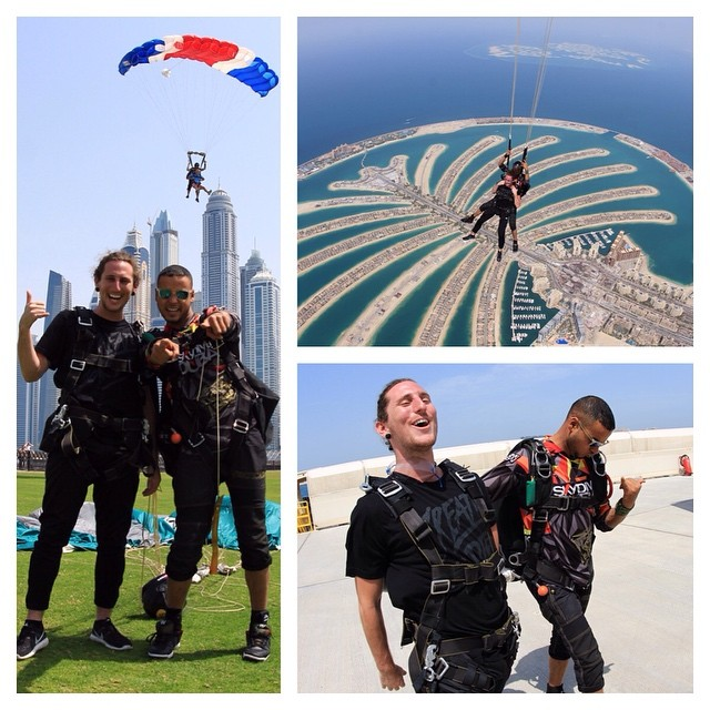 Our Southern fam Lee New enjoys a gnarly  dive from the sky in Dubai with the @skydivedubai folks...Taking his @michalmenert signature #createordie tee to a whole new adventure level