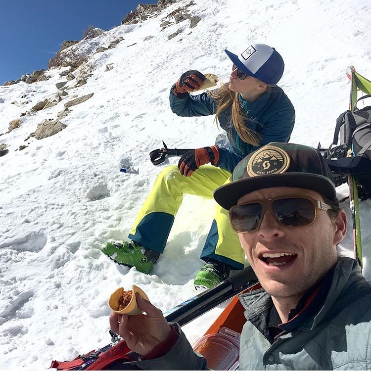 Dylan Crossman knows how to class up a tour. Backcountry tacos!  PC: @trees2ski