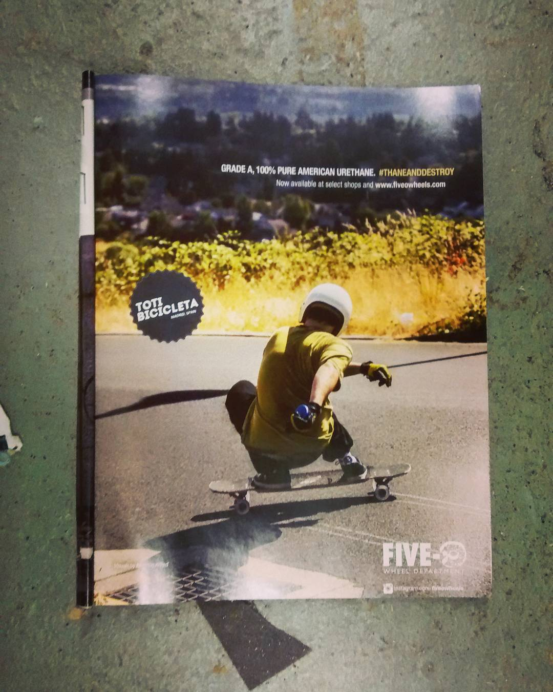 Found rider @totibicicleta doing a skid in a @fiveowheels ad from an old @skateslate magazine.