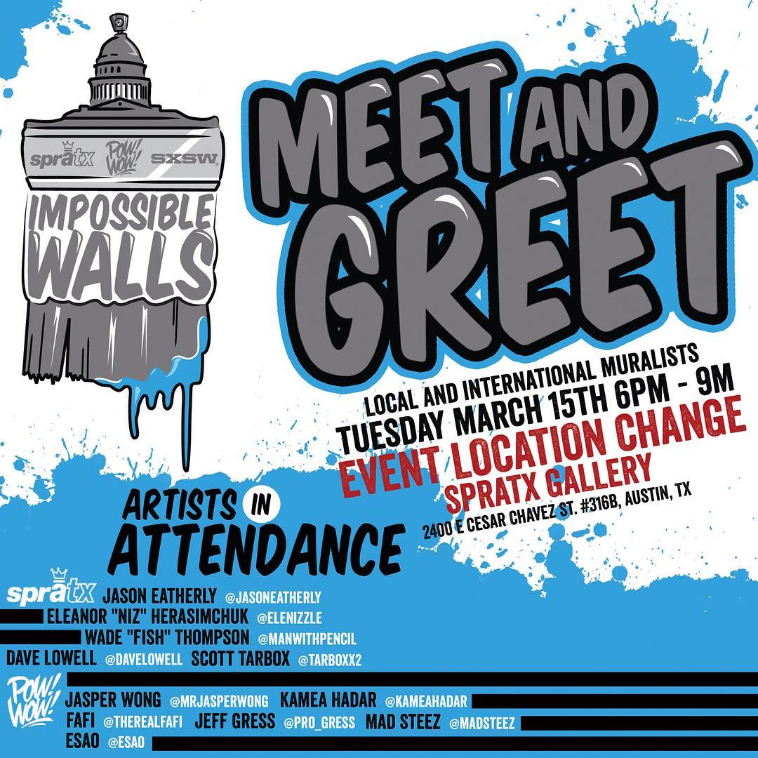 Ok!!! Ladies and Gentlemen.  We have a quick location change for our Meet & Greet. • • Please go to 2400 E. Caesar Chavez Unit 316b The SprATX Gallery fro 6-9pm @powwowworldwide  @sxsw • #atx #austintx  #texas #tx #spratx #powwow #powwowsxsw