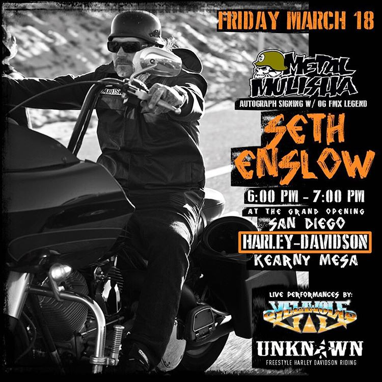 It's going DOWN! Come hang & meet #OG @SethEnslow11 at @SanDiegoHarleyDavidson w| #LIVE performances by @Yelawolf ✖️ @UnknownIndustries