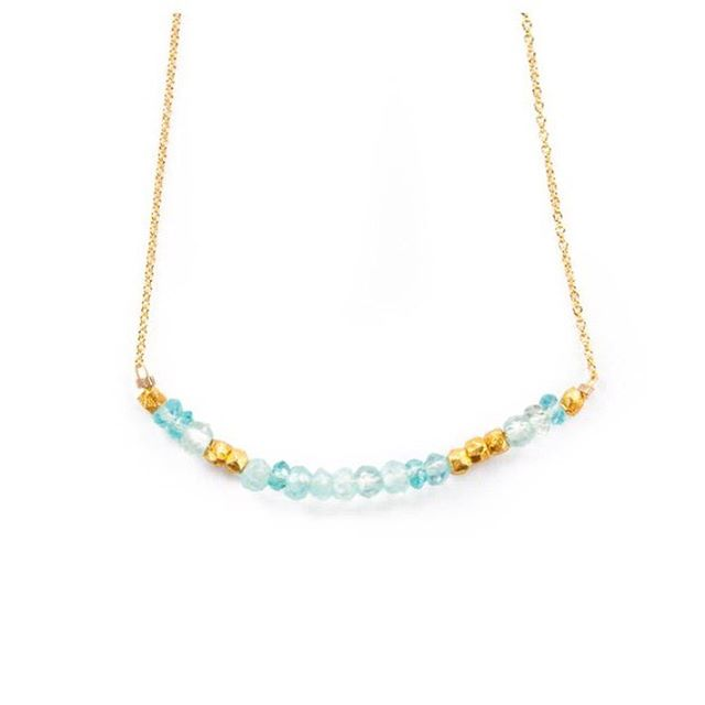 The adorable and classic everyday entity, Morse Code Gemstone Necklace. Here is this months birthstone of Aquamarine.  Loving the #classicglam #style!  #aquamarine #march #birthstone #morsecode #juliaszendrei #somethingblue #flowerchild #pantone...
