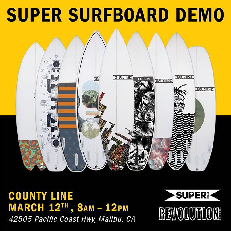 Our friends @super_brand are coming to Ventura! (County.....well, county line) to partner up for a demo day with @revolution1996 boardshop. Stop by tomorrow and try a new sled (or 3) with @proliteint microdot traction.  8-12 tomorrow morning, get ready...