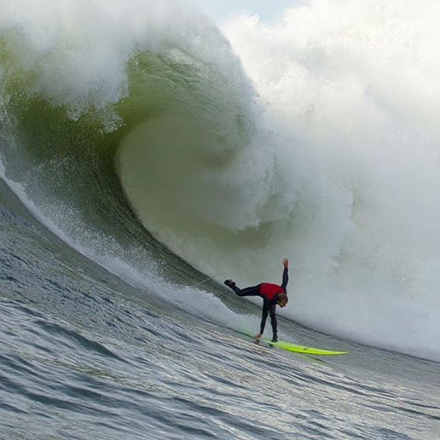 "@josh_kerr84 working on some new ""technique"" on a not so playful day at Mavericks."