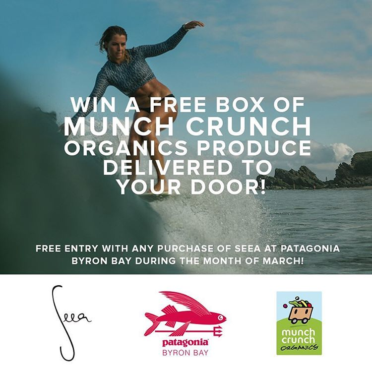 Seea x @patagoniabyronbay have teamed up with @munchcrunchorganics to award two lucky winners a free box of organic produce delivered to your door! Get one free entry with any Seea purchase at Patagonia Byron Bay through the month of March. Enter at...