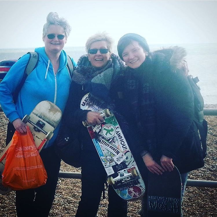 This is skateboarding. @sabinaedwards, @ellen.o.saurus & Sue Chapman ready for Girls Night at @sourcebmx in Sussex, UK. Hope you had a rad session ladies!