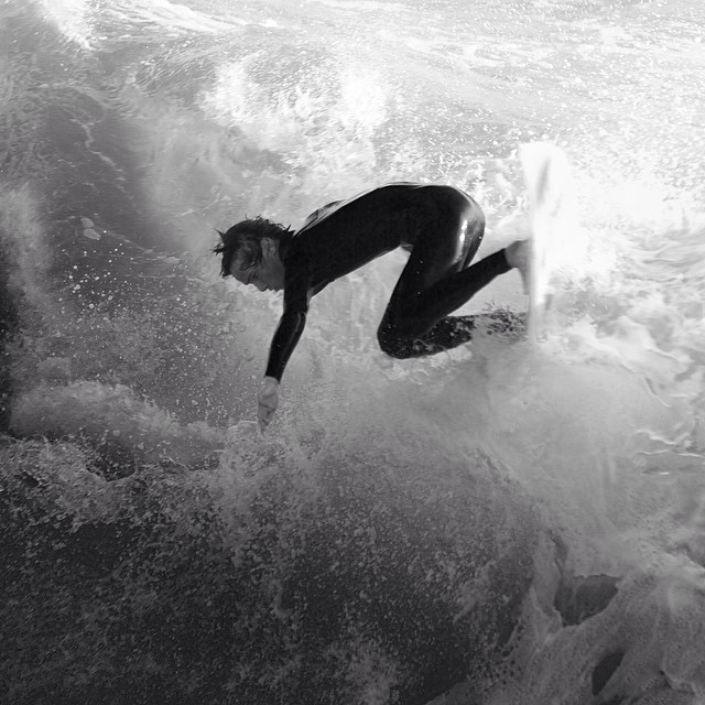 Pismo surfer getting after it! #coldasf #coldwatersurf #winter #instagood #photooftheday #like #picoftheday #instadaily #ig #instasurf #webstagram #bestoftheday #love #follow #igdaily #surf #surfing #wave #water #surfphoto #surfart #canon#blackandwhite...