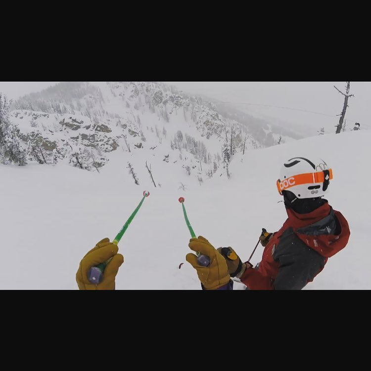 Give'r athlete @jmegs5 picking out his line at the top of Casper bowl as @bflyski offers his wisdom