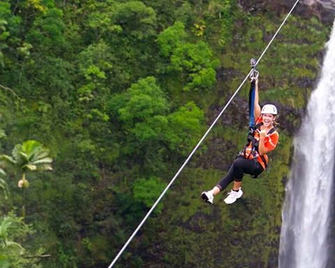 Are you feeling up for adventure? @1percentftp member @skylineecokauai is Hawaii's award-winning zipline company and operator. The Big Island Akaka Falls zipline tour features 7 amazing lines, including a soar over a 250' waterfall! #Hawaii #getoutside