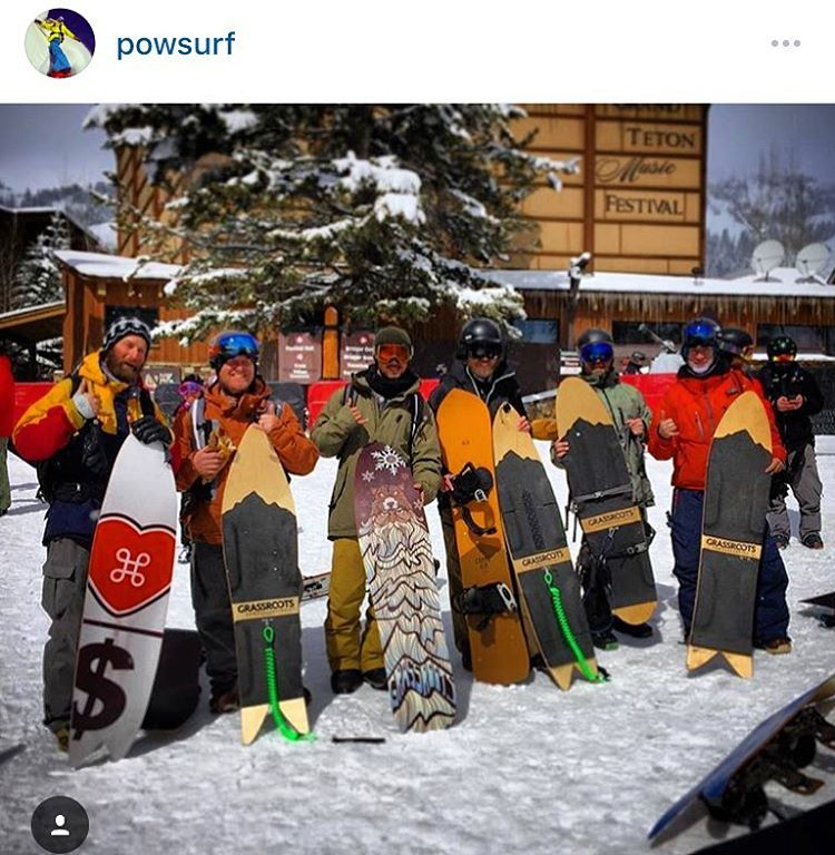 The powsurf revolution has begun!  Solid crew about to test #grassrootspowdersurfing and Grell boards at the @jhpowwow in @jacksonhole.