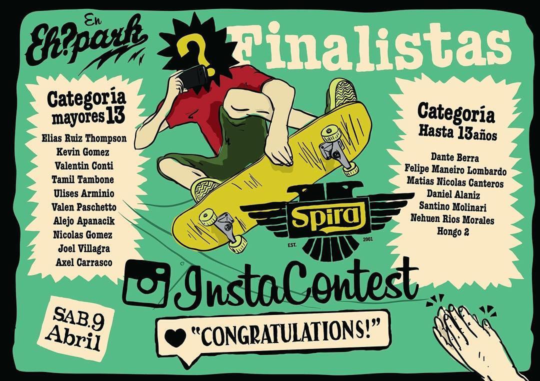 Felicitaciones a los grandes finalistas del #InstaContest que participarán del torneo en el @ehparkparadise_skatepark el sábado 9 de Abril