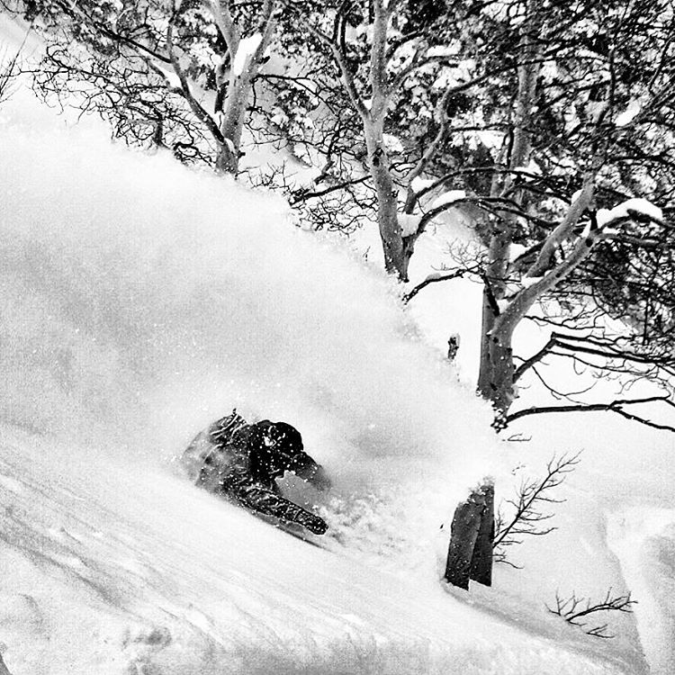 @shinbiyajima testing the deep at the @jhpowwow. #alltimeconditions #avalon7 #liveactivated #snowboarding www.avalon7.co