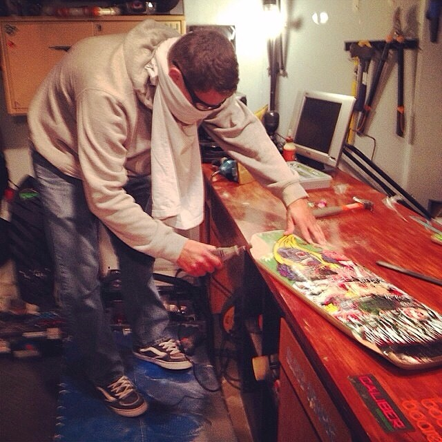 Michael Carson--@mcarsonlikescats working on some wheels for the Laguna Seca race coming up.