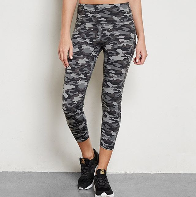 Camo for days {leggings made out of 37 water bottles} -- visit our website to shop the Half Lotus Crop Camo Print Legging. #camo #active #fitness #gym #healthyliving #livesustainably