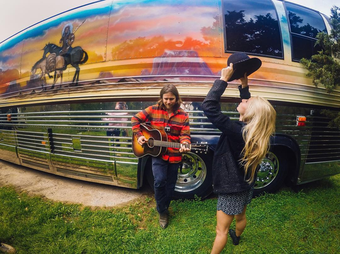 "A tip of the hat to @lilymeola and @lukasnelsonpotr for sharing this musical moment and @willienelsonofficial's Luck, Texas ranch with us!  The friends sang ""Sound of Your Memory"" by the bus before the #LuckReunion festivities outside of Austin."