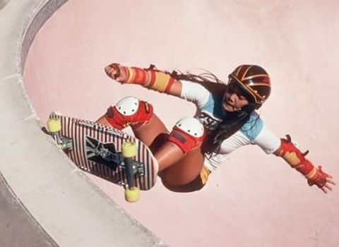 The one and only @judioyama ripping the Winchester Skatepark in San Jose back in 1979. Weekend (and life) inspiration! Photo cred?  #longboardgirlscrew #womensupportingwomen #skatelikeagirl #1979 #ogskater #judioyama #skateboarding #badassskatemom