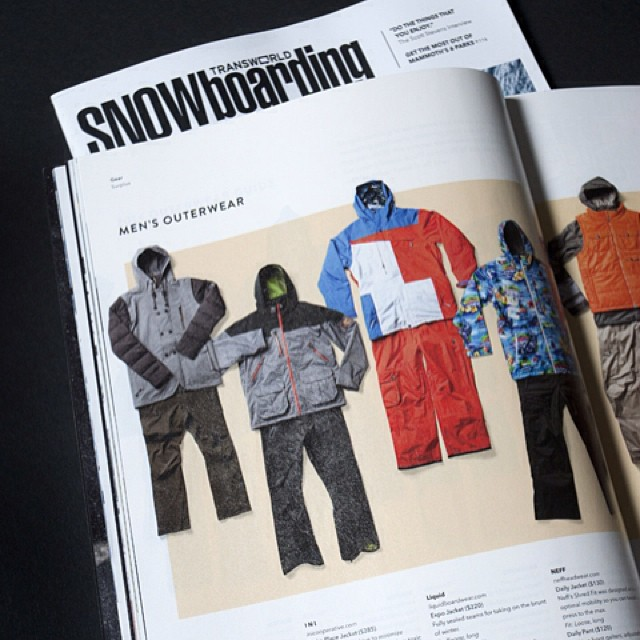 S\O to @twsnow for including us in the 2014 #Outerwear guide, featuring the Parka Place Jacket and Militant Pant made from a recycled poly / recycled nylon blend. #Snow13/14 hitting shops in the next 2 weeks. #ShopLocal #WinterIsComing Thx @gerhardmg...