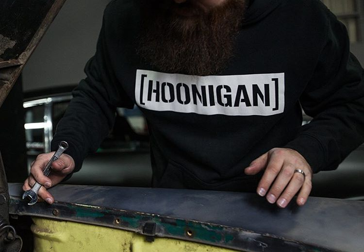 The white on black C-bar is one of our classics! It's available on a pull over hoodie, like this, and a whole lotta other things on #hooniganDOTcom.