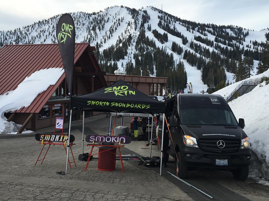 We are all set up today @mtroseskitahoe - if your in the area, stop by and try the new boards - we are demoing 2017 line. #comeandfindoutwhatthehypesallabout | #weareOK | #handmadeUSA | #ForRidersByRiders | #smokinsnowboards | #SmokinNationaDemoTour