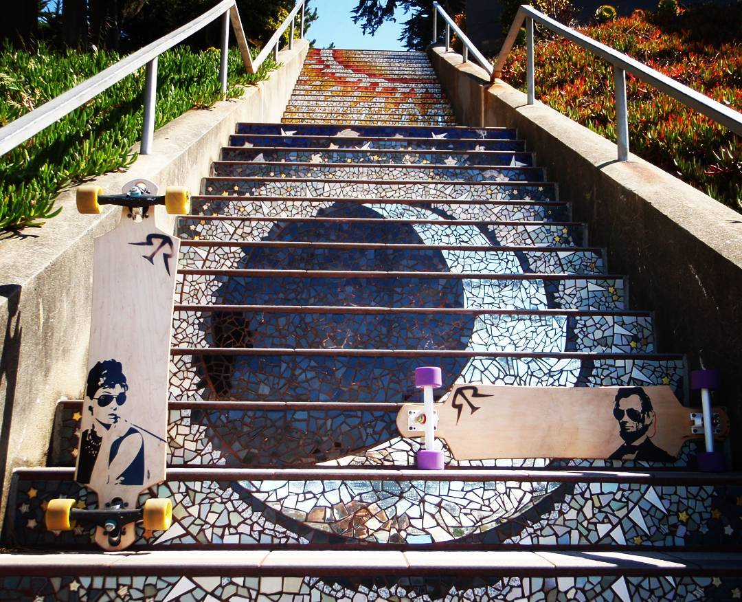 That time we found the tile steps #longboard #dropthrough #abe #audreyhepburn #sanfrancisco #tiledsteps