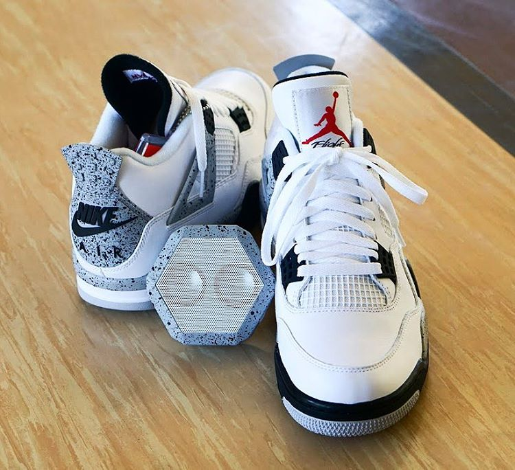 We are back at it again with another giveaway! @Jordans_Daily curated this giveaway featuring a pair of the Air Jordan 4 'White/Cement' in size 10.5 and a matching Rex Speaker customized by @sab_one.  To enter this giveaway follow the instructions...
