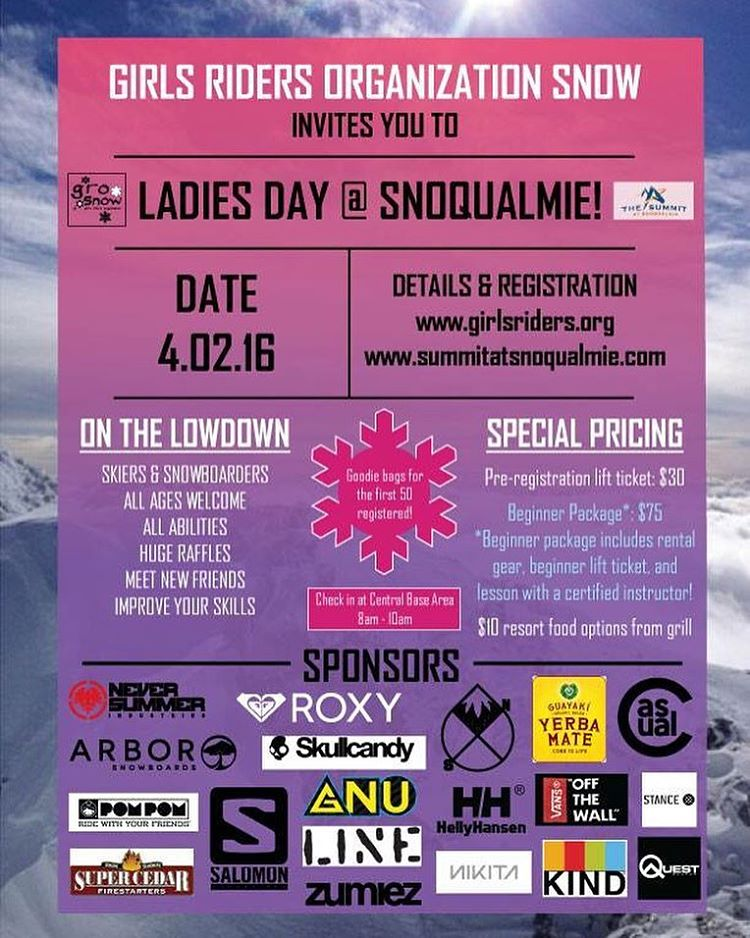 GRO Snow Ladies day at Snoqualmie Central April 2, 2016  Get REGISTERED now!