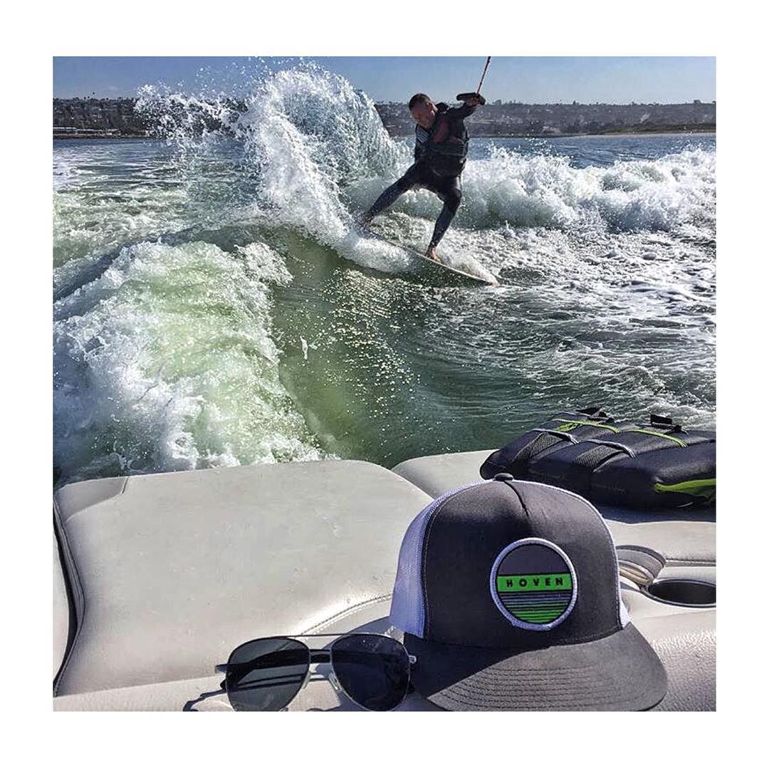 "Our internal team at @hovenvision lives by our moto, ""Always sun blocking, Never fun blocking"" .  Photo// @billbeeechill  #hovenvision #wakesurf #missionbay #alwayssunblockingneverfunblocking"