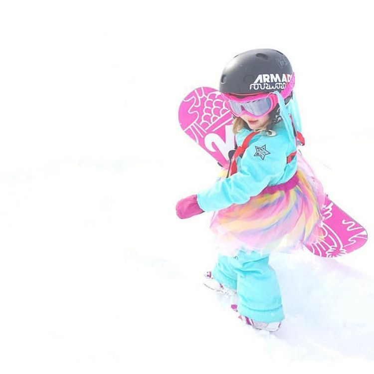 Kinley, 4, snowboarder. Awesome. Thanks for sharing @19dynasty82! She needs a #girafficorn sticker. #snowboarding #girlswhosnowboard #style #tutu #girafficornnation #happy #fun #getoutstayout